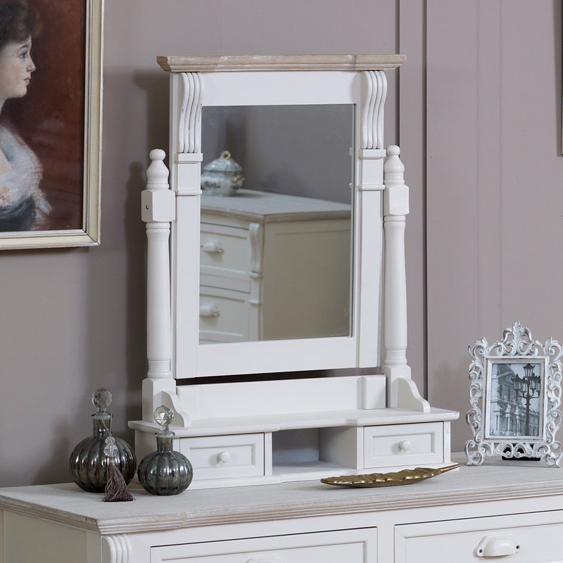 Cream wood dressing table mirror stool set with