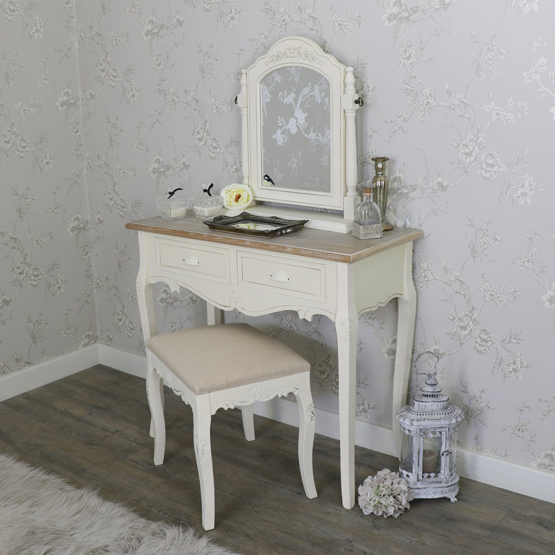 Cream wood dressing table swing mirror and stool bedroom for Ash bedroom furniture