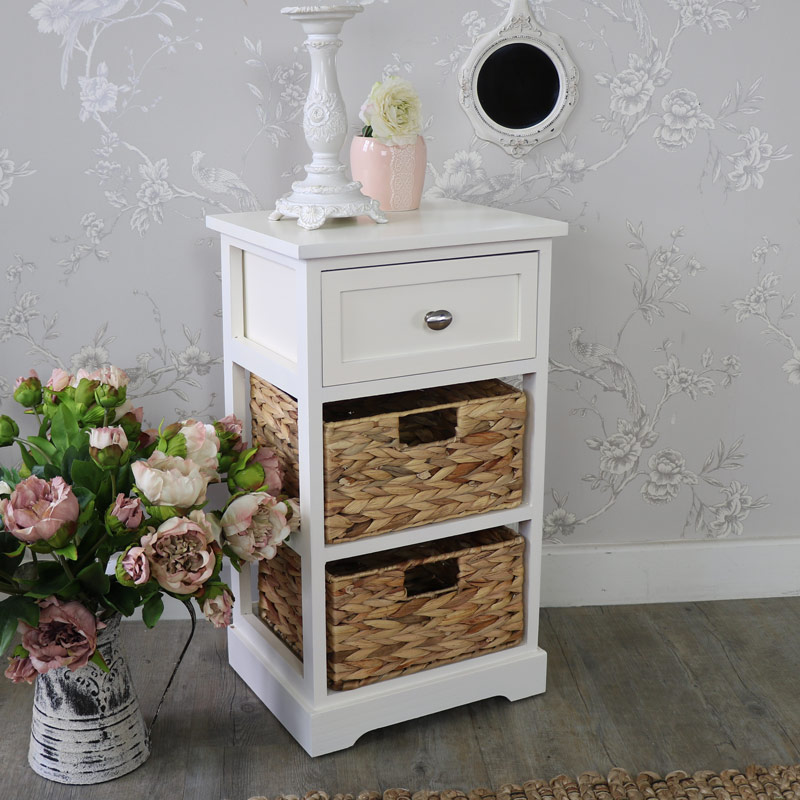 Favorite Cream Wood & Wicker 3 Drawer Basket Storage Unit - Hereford Cream  TZ63