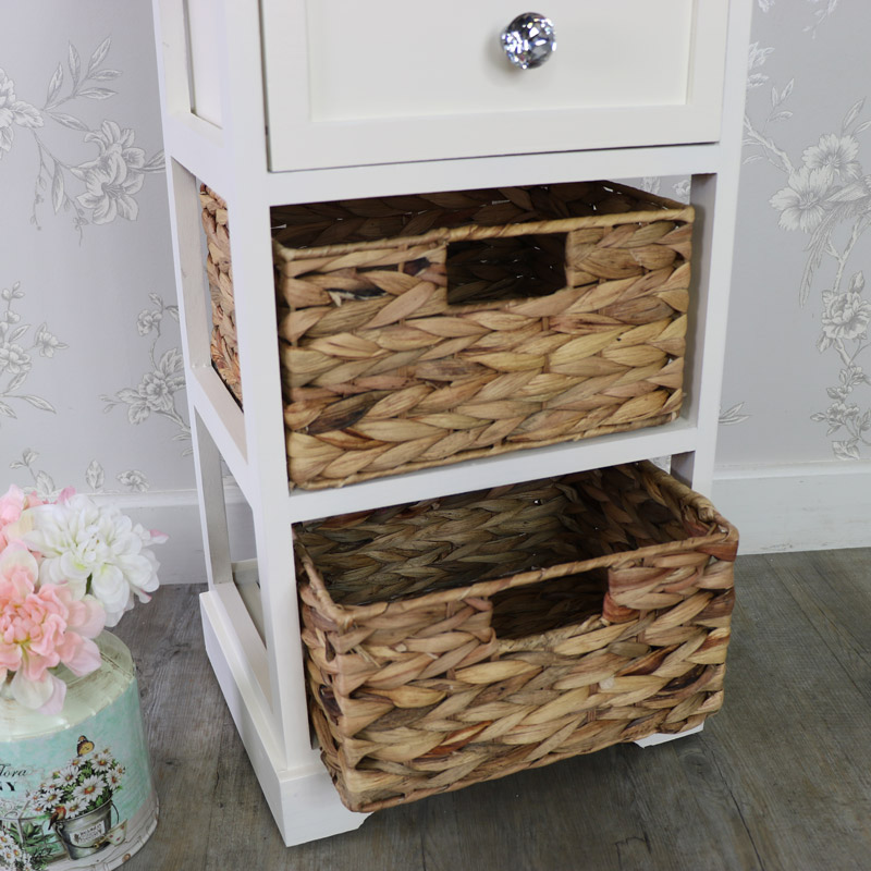 Cream Wood & Wicker 3 Drawer Basket Storage Unit - Hereford Crystal Cream Range