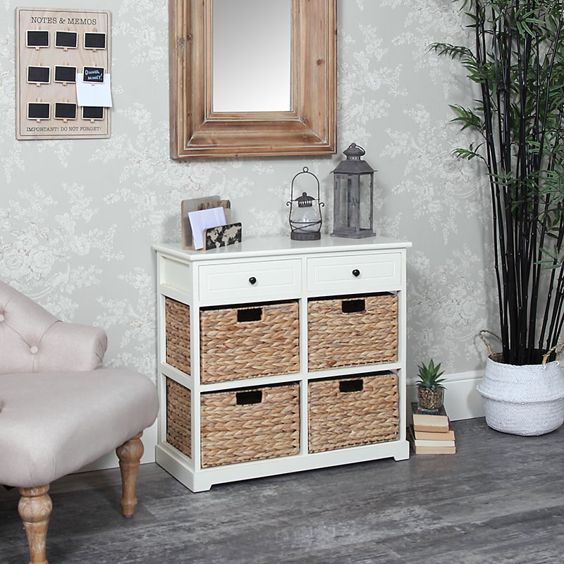 Attractive Cream Wood U0026 Wicker 6 Drawer Basket Storage Unit   Hereford Cream Range ...