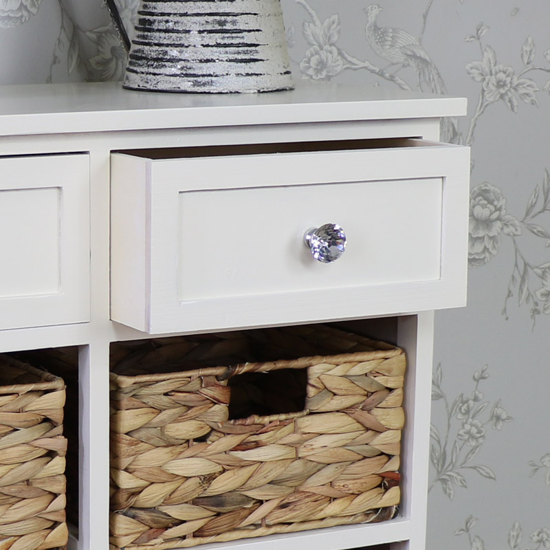 Merveilleux ... Cream Wood U0026 Wicker 6 Drawer Basket Storage Unit   Hereford Crystal  Cream Range ...