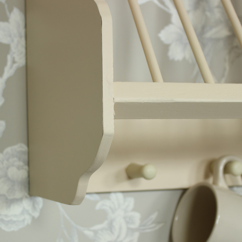 Cream Wooden Plate Rack with Hooks