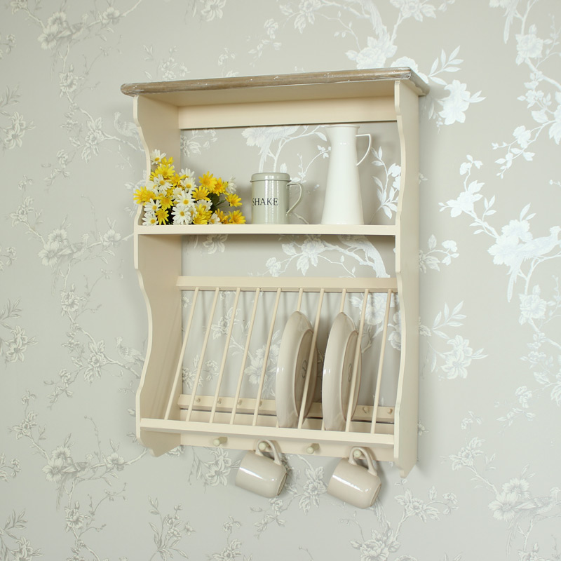 Cream Wooden Plate Rack with Hooks ... & Cream Wooden Plate Rack with Hooks - Melody Maison®