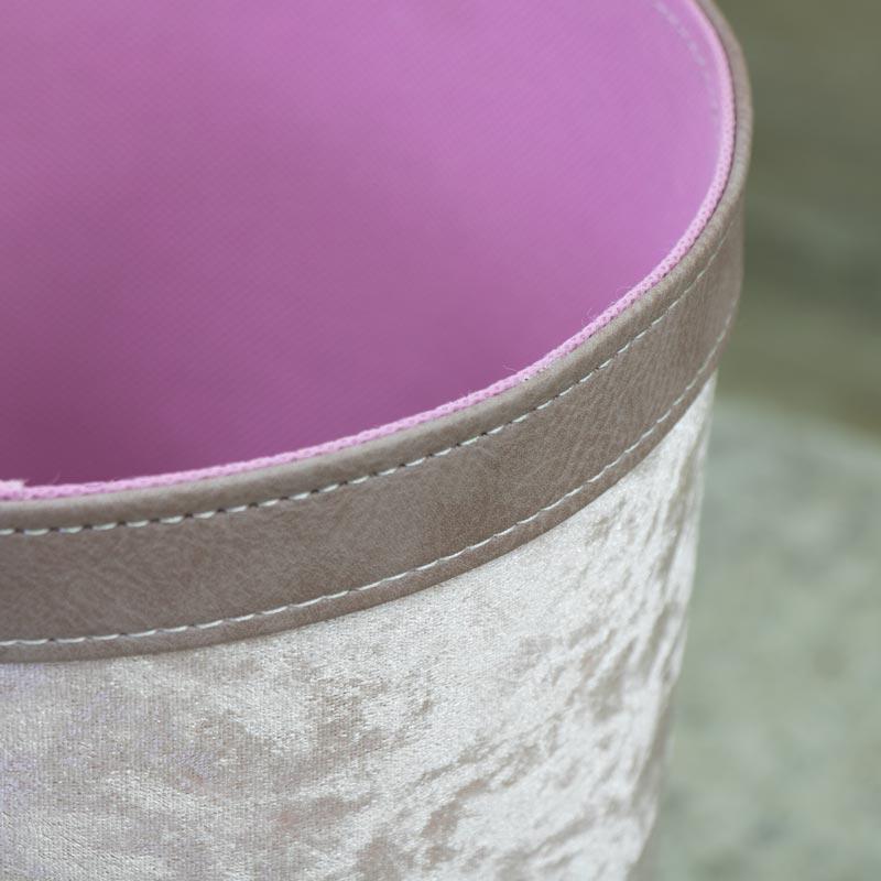 Crushed Velvet Waste Paper Rubbish Bin