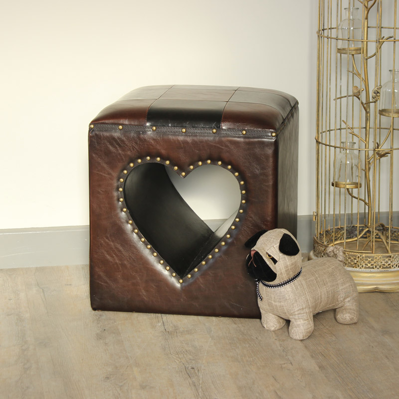 Cut Out Heart Faux Leather Stool/Foot Stool/Pouffe