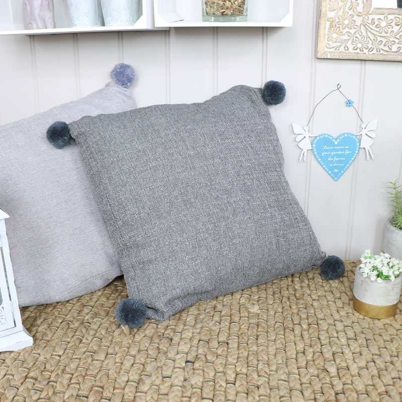 Dark Grey Pom Pom Scatter Cushion