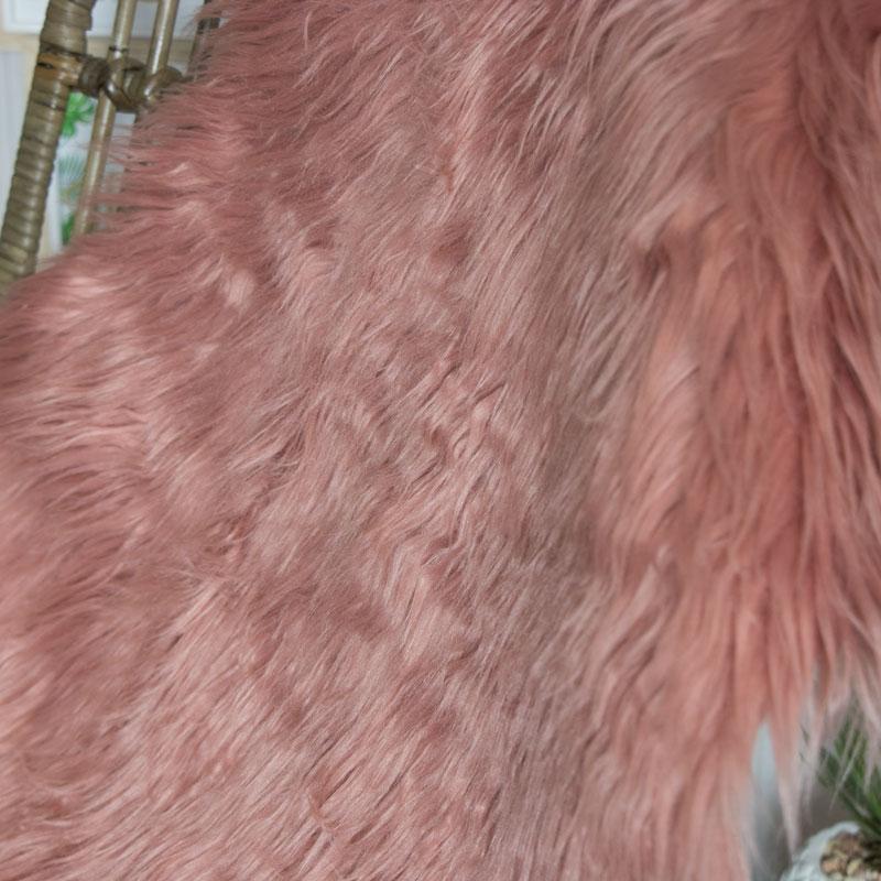 Dark Pink Faux Fur Rug 50cm x 90cm
