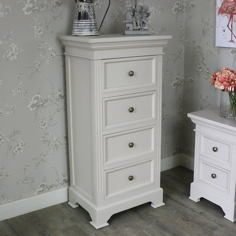 Grey Wooden Tallboy Chest Drawers Shabby Vintage Chic Bedroom