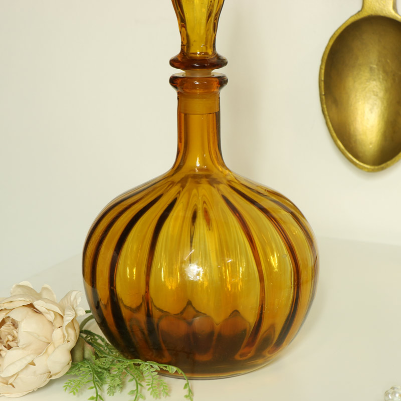 Decorative Amber Glass Apothecary Jar