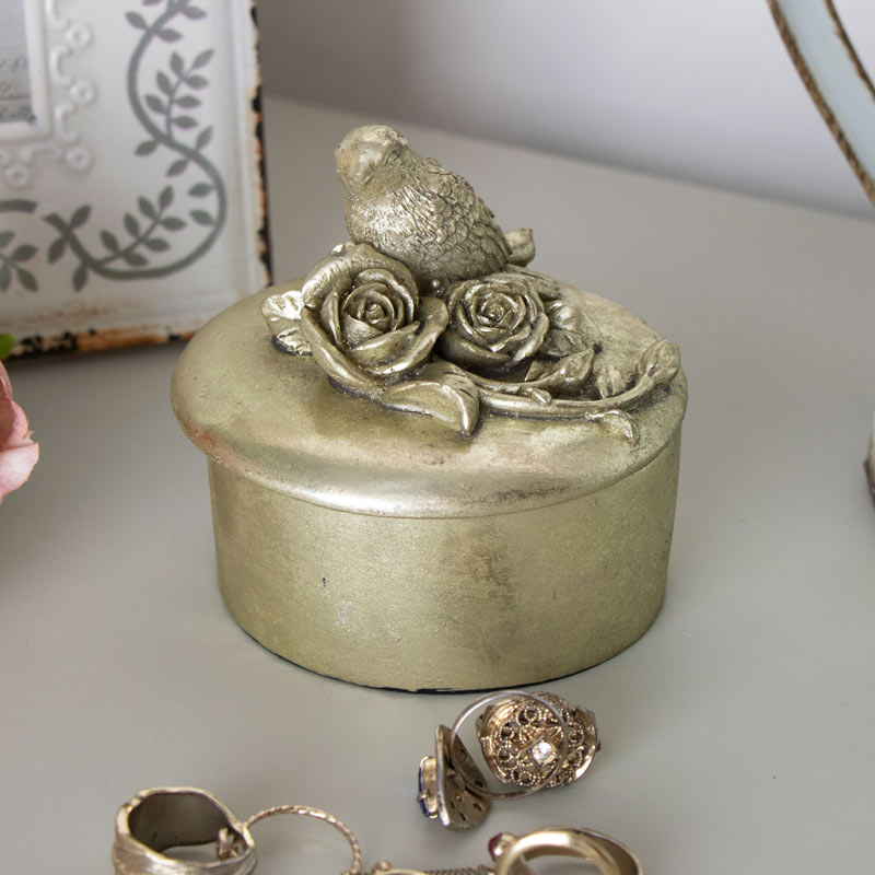 Decorative Bird and Roses Trinket Pot