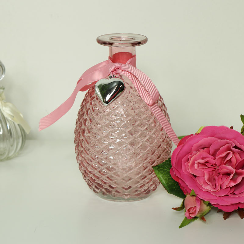 Decorative Dark Pink Glass Bottle Vase