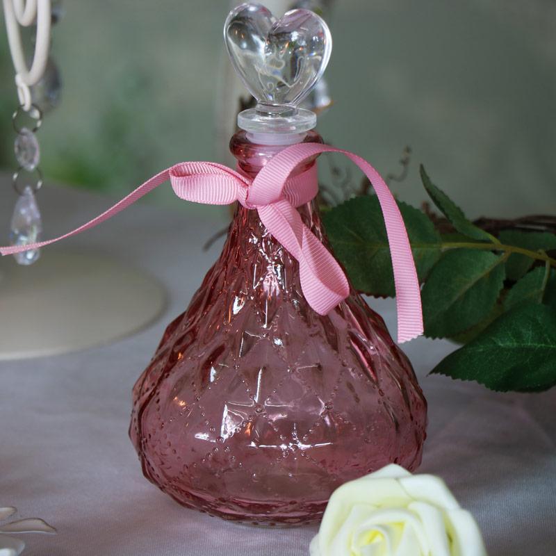 Decorative Dark Pink Glass Perfume Bottle
