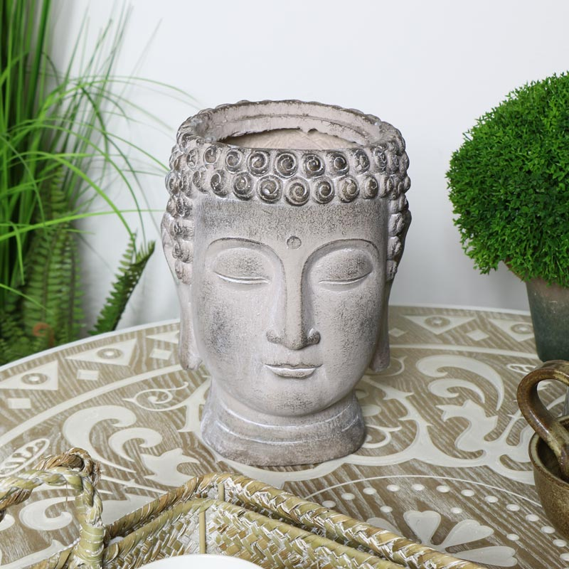 Decorative Grey Buddha Head Planter