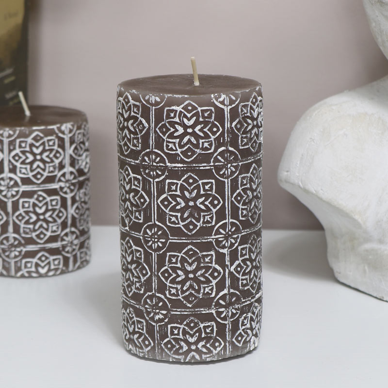 Decorative Grey Pillar Candle