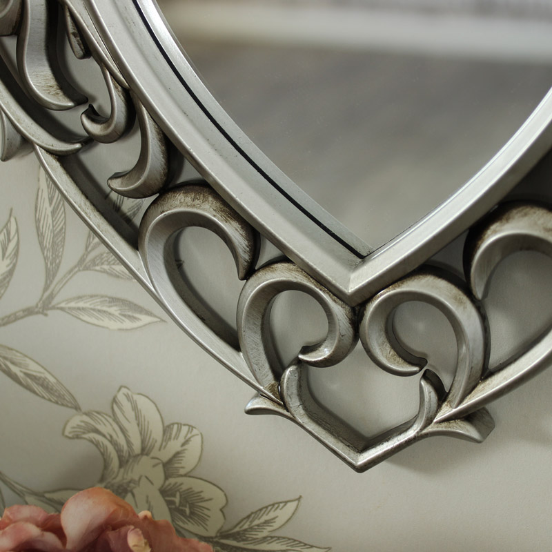 Decorative Silver Filigree Heart Shaped Wall Mounted Mirror
