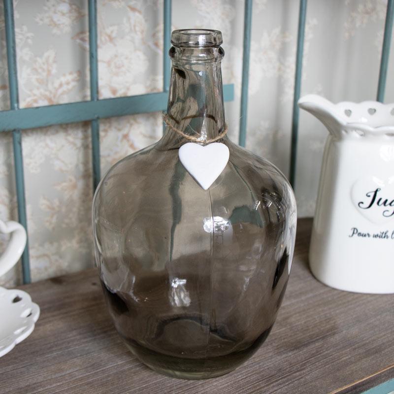 Decorative Smoked Glass Bottle Vase