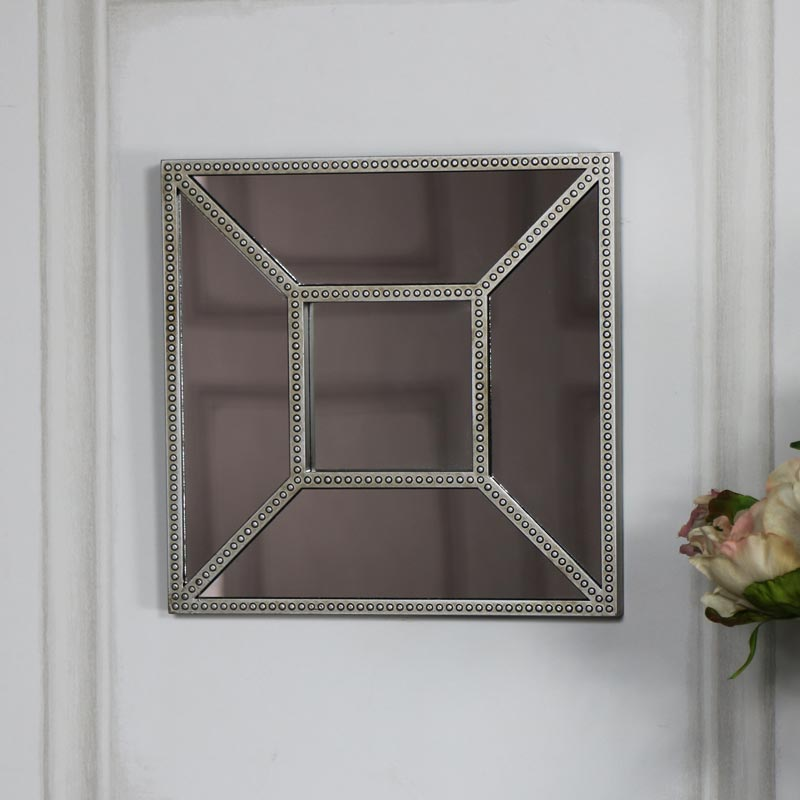 Square Panelled Silver Wall Mirror