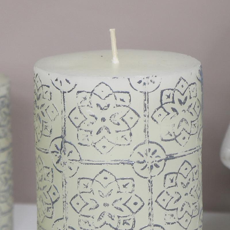 Decorative White Pillar Candle