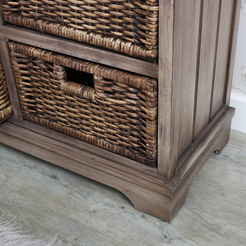 Dorchester Range - Wooden 2 Drawer 4 Basket Storage Unit