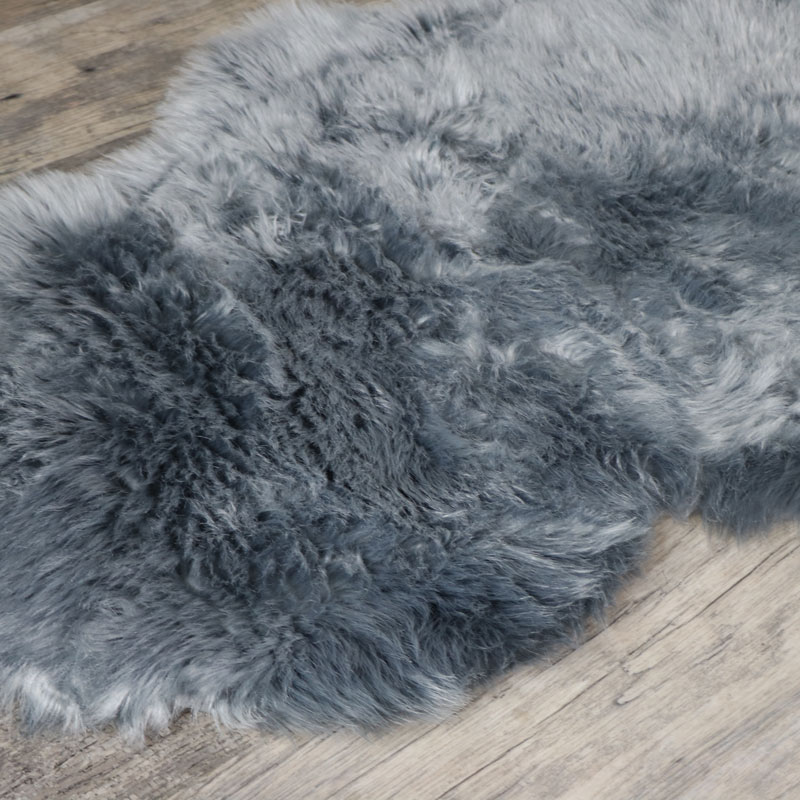 Double Pelt Grey Faux Fur Rug 65cm X 200cm