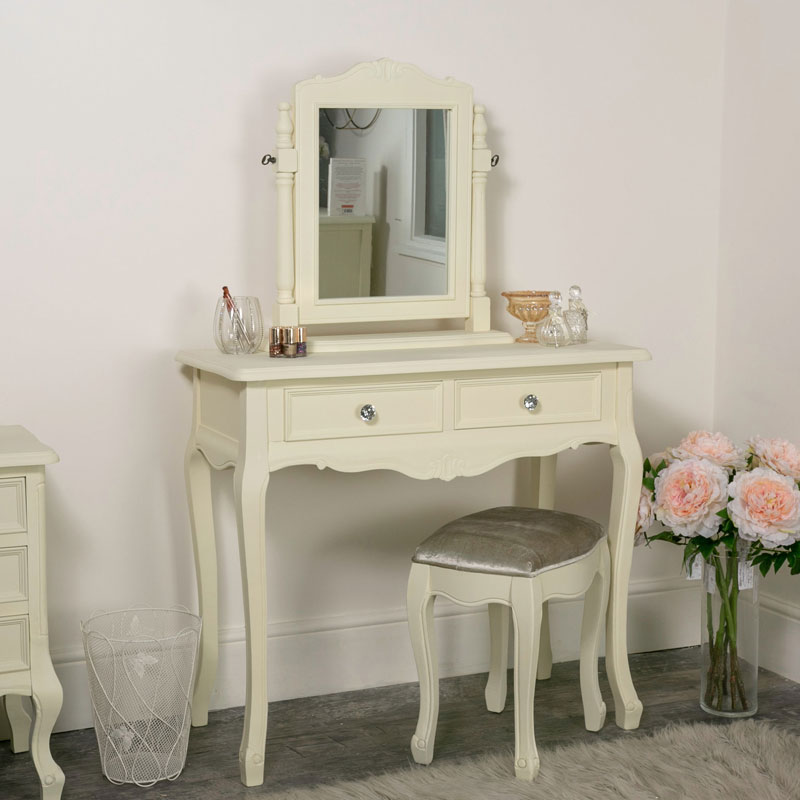 Dressing Table, Swing Mirror and Stool Set - Elise Cream Range