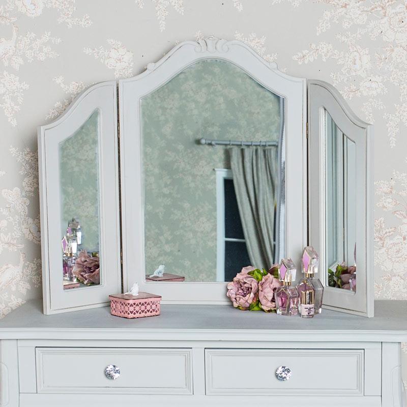 Dressing Table, Triple Mirror and Stool Set - Elise Grey Range