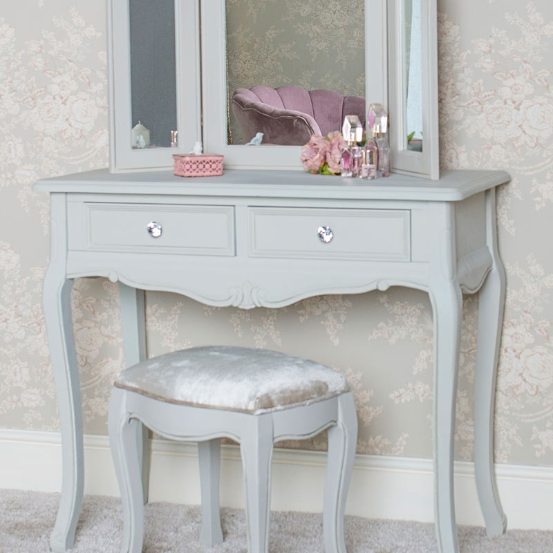 Superieur Details About Grey Dressing Table Set Triple Vanity Mirror Stool Seat French  Bedroom Furniture