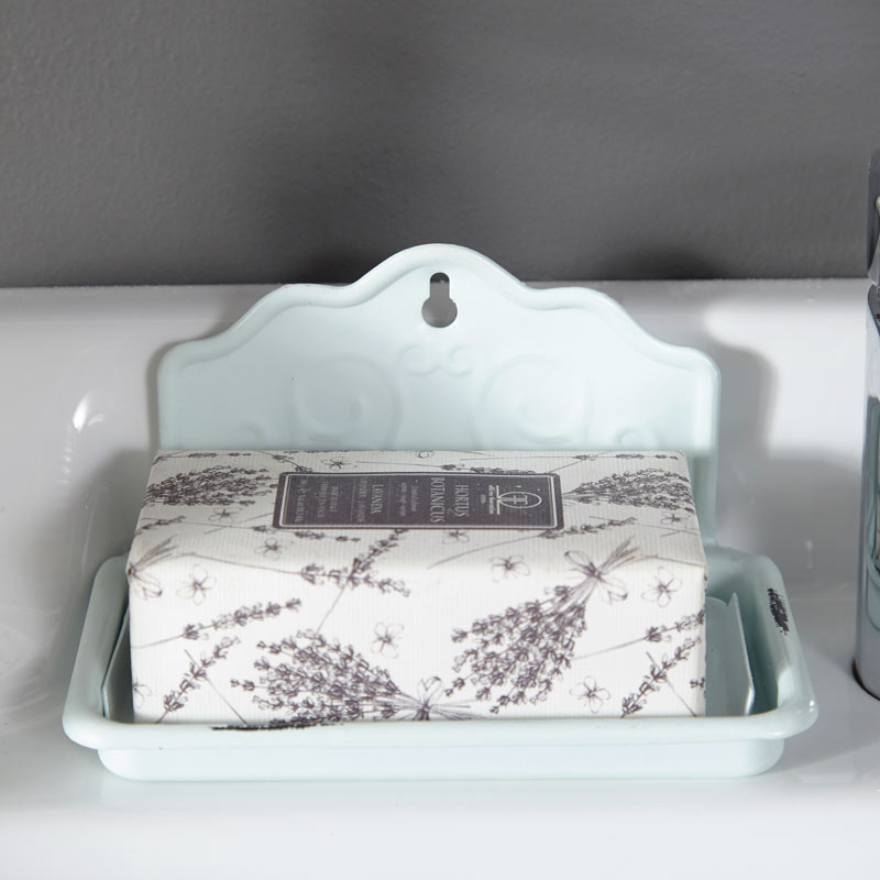 Duck Egg Blue Enamelled Soap Dish