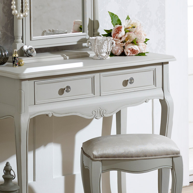 Elise Grey - Dressing Table, Mirror & Stool