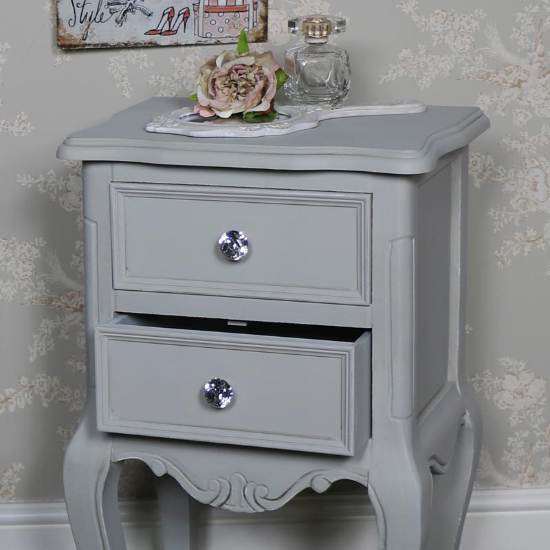 Pair of Grey Two Drawer Bedside Tables - Elise Grey Range
