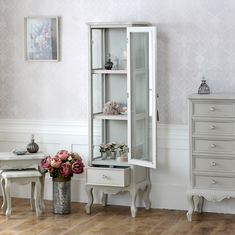 Tall Glass Display Cabinet With Drawer   Elise Grey Range