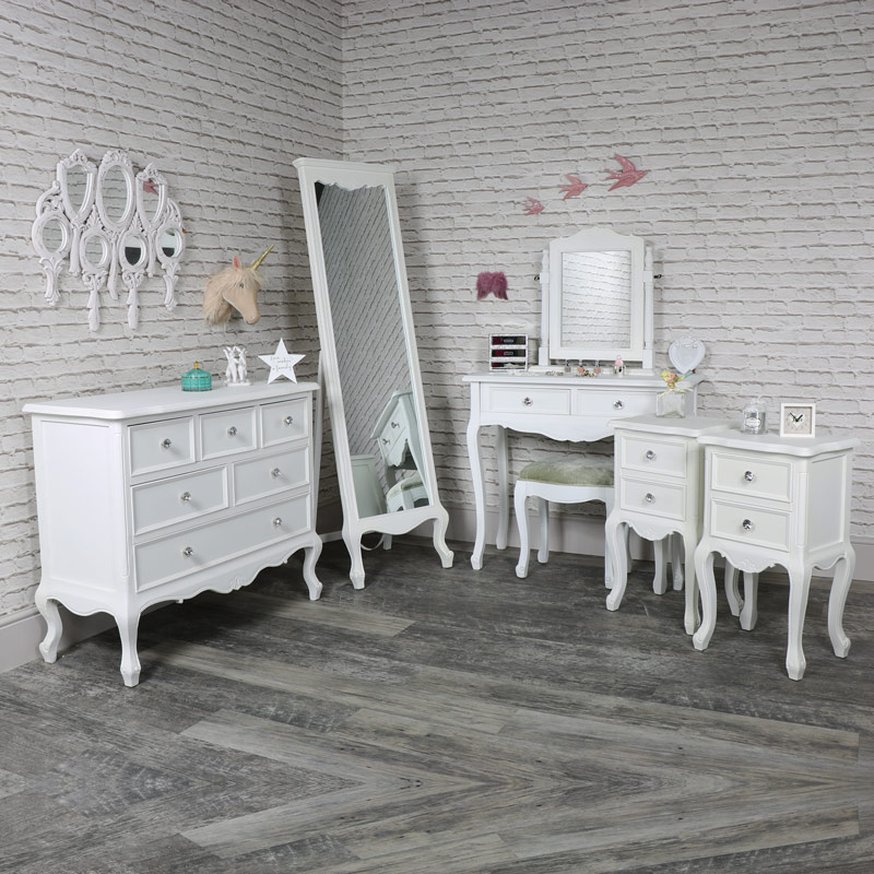 Elise White - Furniture Bundle, Chest of Drawers, Cheval Mirror, Dressing Table, Mirror, Stool and 2 Bedside Tables