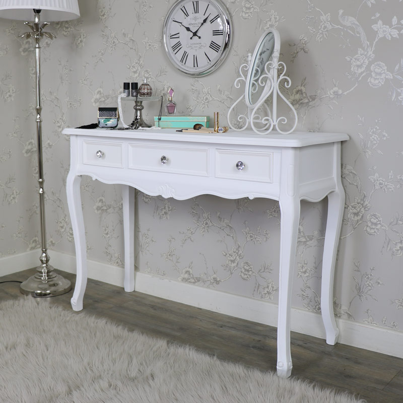 elise white range 3 drawer console dressing table. Black Bedroom Furniture Sets. Home Design Ideas