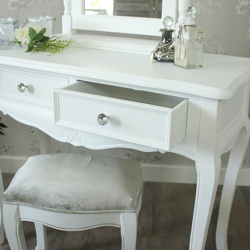 White And Gray Bathroom: White Dressing Table Set, Mirror And Stool