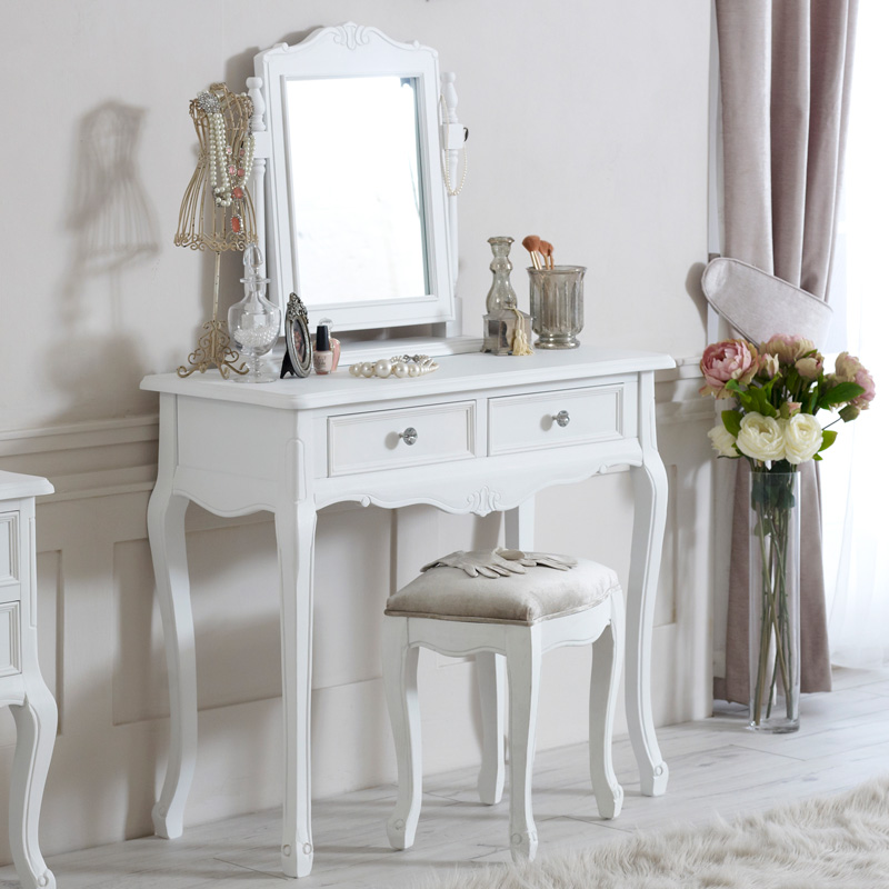 White Dressing Table Set Mirror And Stool Elise White Range