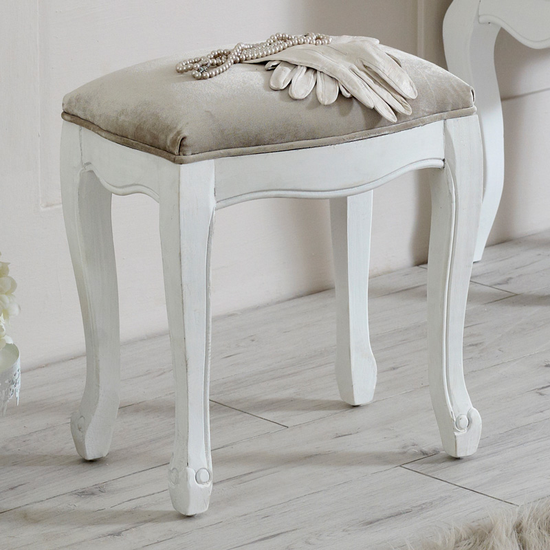 Elise White Range - Dressing Table Stool