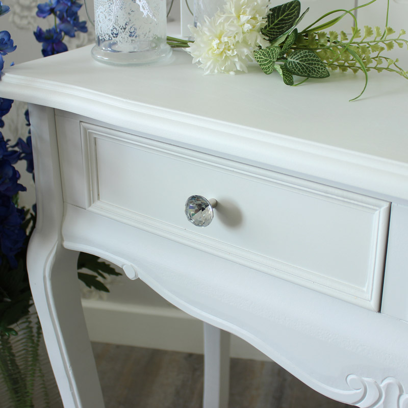 ... Elise White Range   Two Drawer Console Table ...