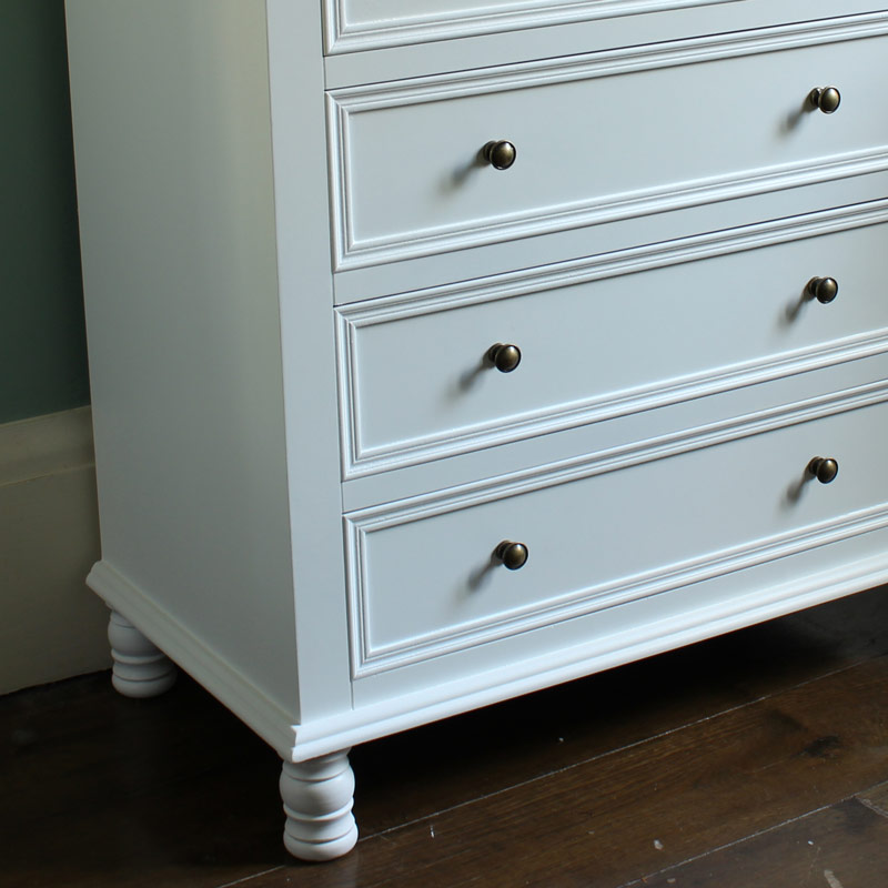 White Large Bedroom Chest Of Drawers Vintage Style Furniture Painted Wooden