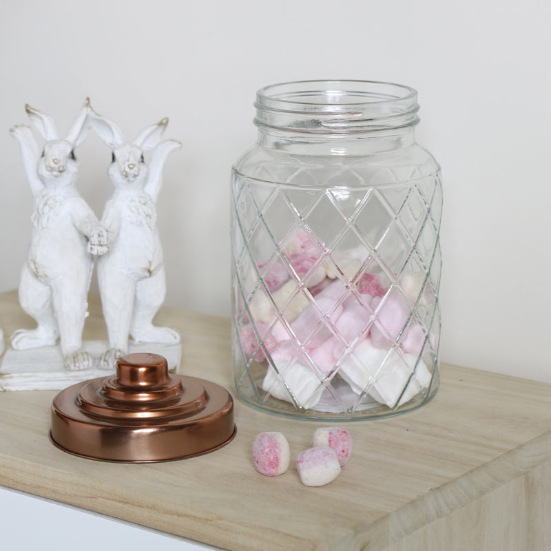 Embossed Glass Jar with Copper Lid