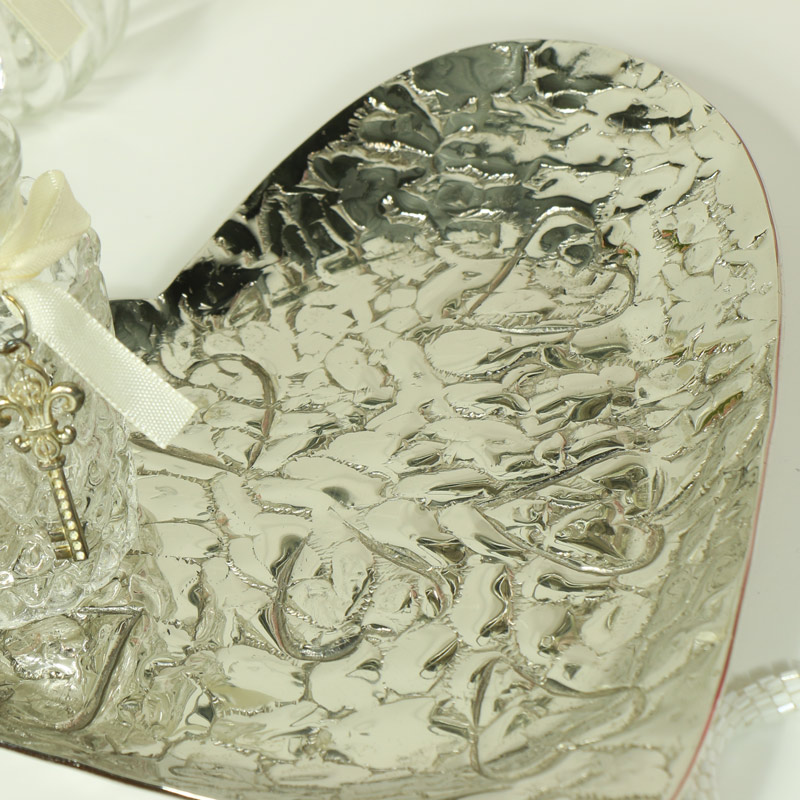 Embossed Silver Heart Shape Bowl