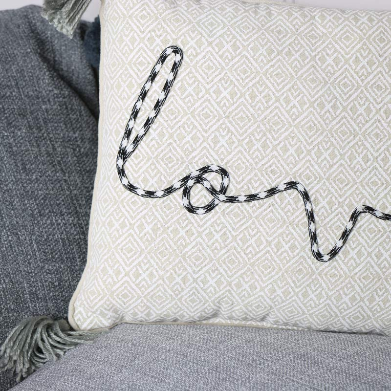 Embroidered 'Love' Scatter Cushion