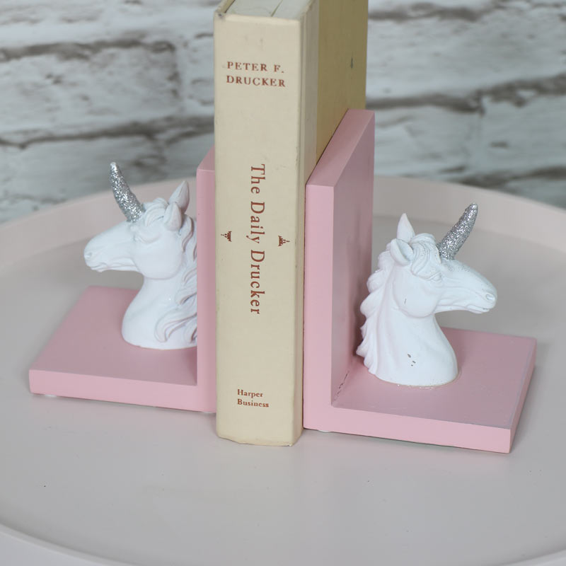 Enchanted White Unicorn Bookends