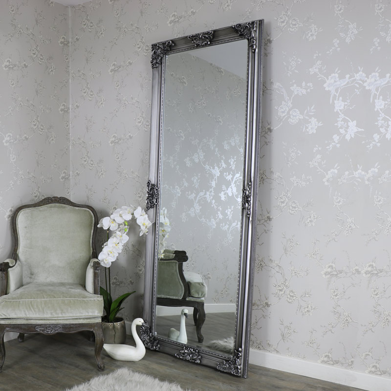 Extra large ornate antique silver wall floor mirror full for Floor wall mirror