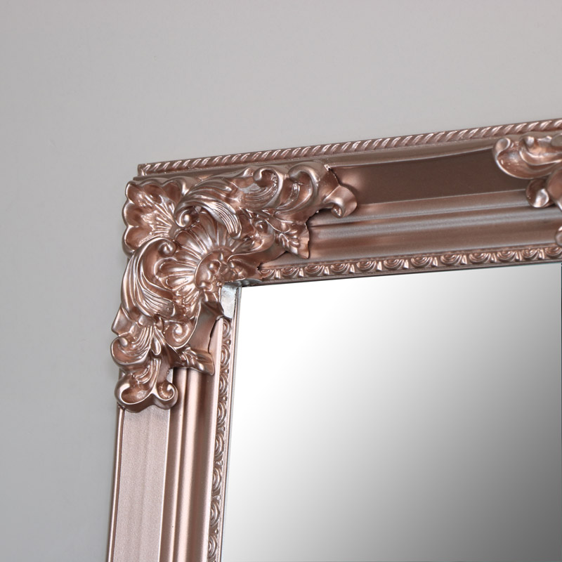 Xxl Rose Gold Pink Full Length Wall Mirror Melody Maison