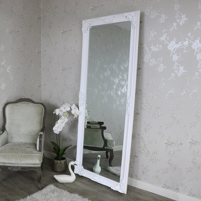 Extra large ornate white wall floor mirror full length for Big bedroom wall mirror