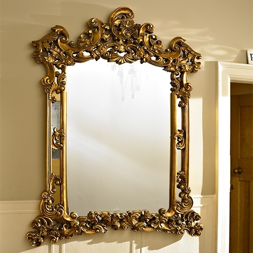 Extra Large Carved Ornate Antique Gold Wall Mirror