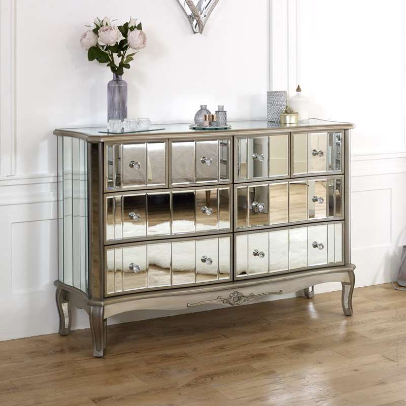 Extra Large Mirrored Chest Of Drawers Tiffany Range Melody Maison