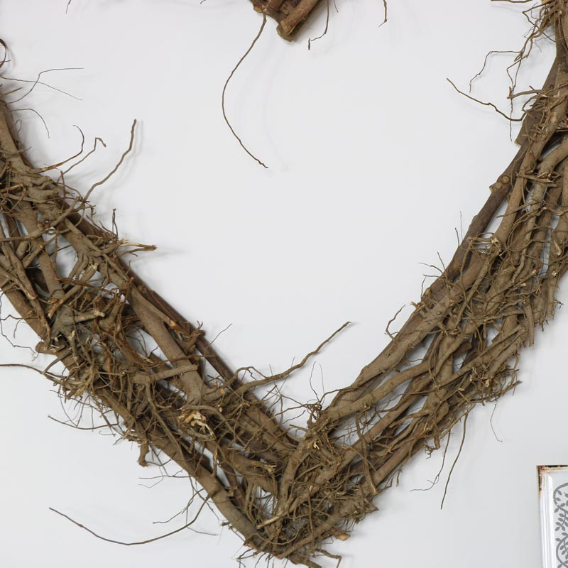 Extra Large Natural Rustic Twig Heart Wall Art