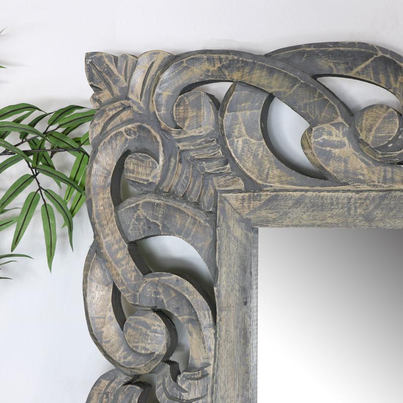 Extra Large Ornate Grey Wall / Floor / Leaner Mirror 91cm x 182cm